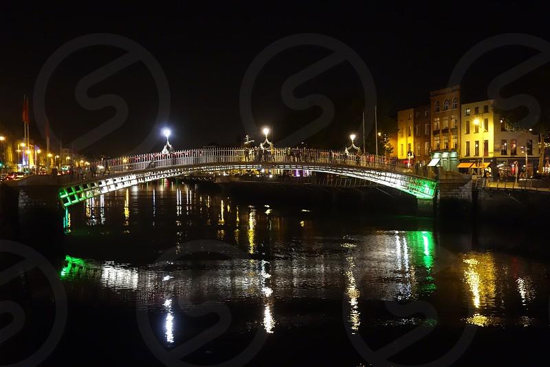 The Ha'penny Bridge in Dublin Ireland photo