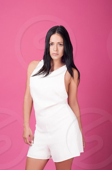 White dress on a brunette Beauty beautiful life lifestyle face makeup model Photoshoot NIKON model elegant elegance makeup style stylish shoes outfit Spanish Hispanic Latino girl woman female photography makeup modeling pose summer light enjoy living moda fashion apparel dress up  dressing up.  photo
