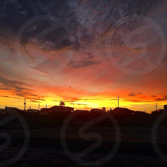 Galveston beach sunset  photo