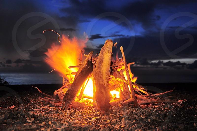 bonfire at night photo