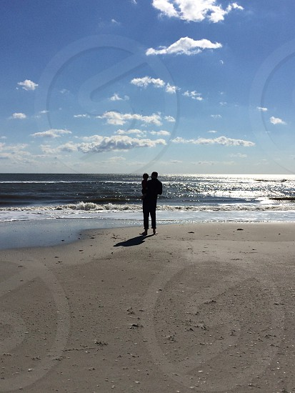 Ocean beach New Jersey shore father and son nature photo