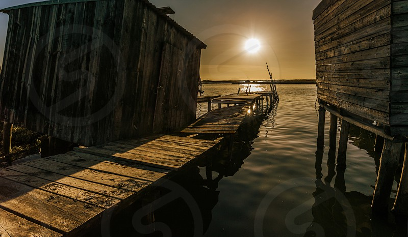 Palafitic Quay of the Port of Carrasqueira Portugal photo