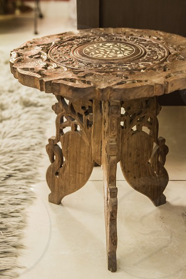 brown wooden round tabletop photo