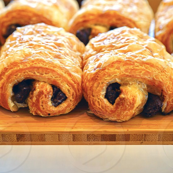 Pastry chocolate bread sweet croissant food pain au chocolat french two photo