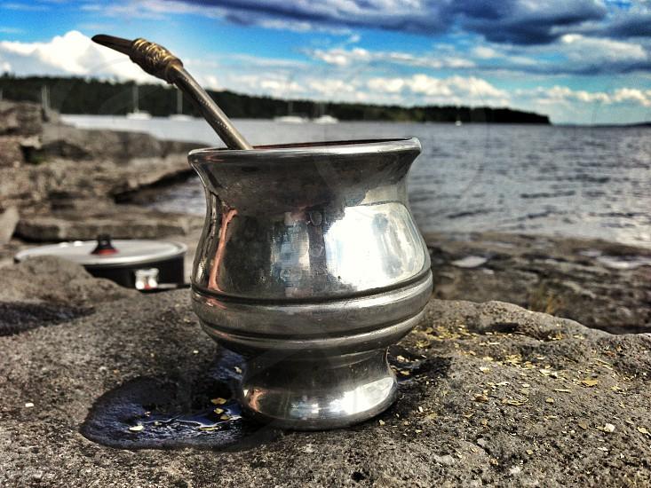 Yerba Mate. Mate Yerba tea straw silver rock beauty life outdoors road less traveled lake Champlain New York chill relax sojourn la vida loca  photo