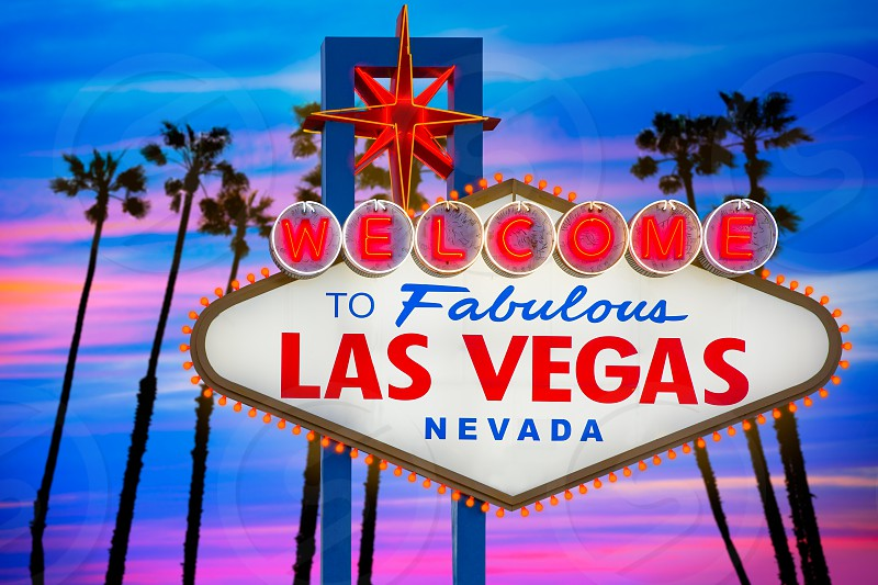 Welcome to Fabulous Las Vegas sign sunset with palm trees Nevada photo mount photo
