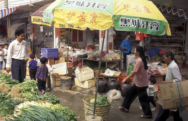 a market in the city of Shenzhen north of Hongkong in the province of Guangdong in china in east asia.  photo