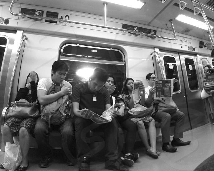 Random scene inside a train coach. photo