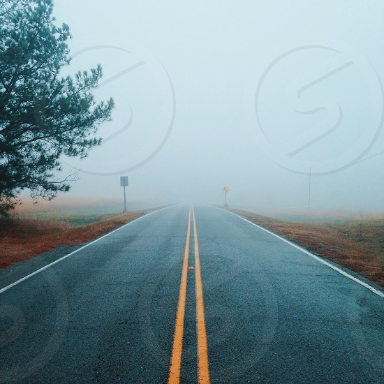 Road fog lines country rural nature photo