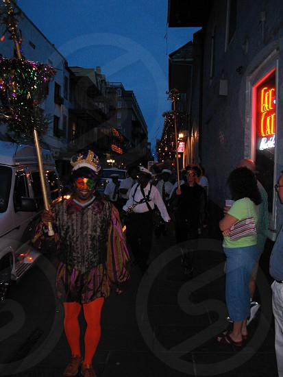 New Orleans old French section party / jester night shot photo