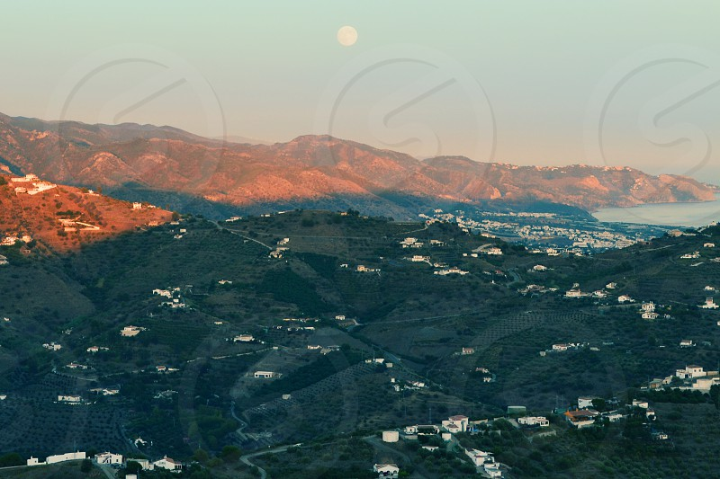 Moon Sun Mountains Andalusia Spain photo
