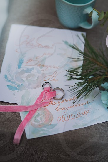 Rings wedding cards watercolor pink winter painting detail ribbon photo