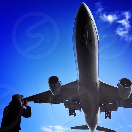 gray airplane  photo