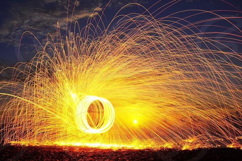 yellow fireworks display photo