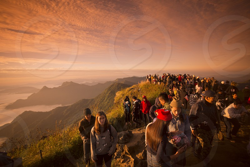 People enjoy at the Cliff of Phu Chi Fa in the Chiang Rai Province in North Thailand. photo