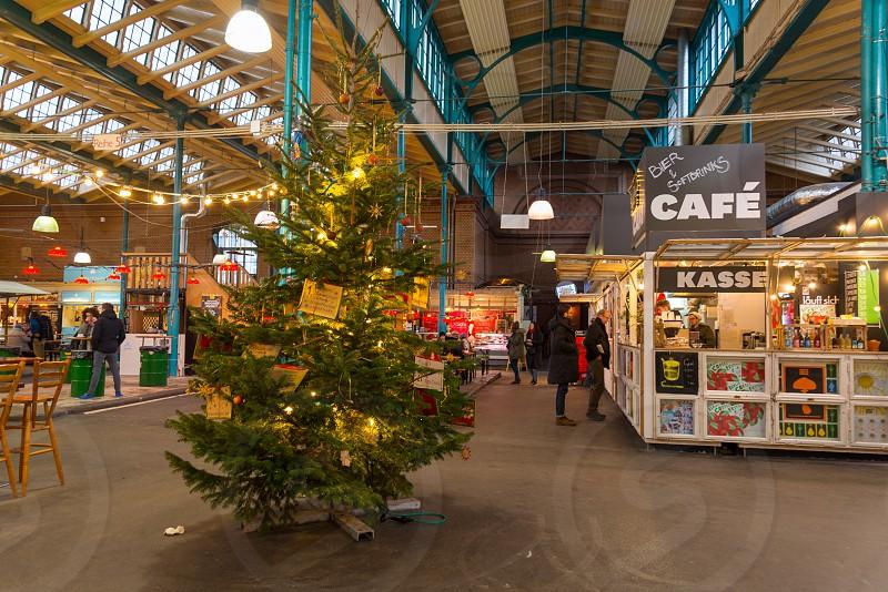 Markthalle Neun is the famous market which has a street market on ThursdayKreuzberg Neighborhood in Berlin Germany photo