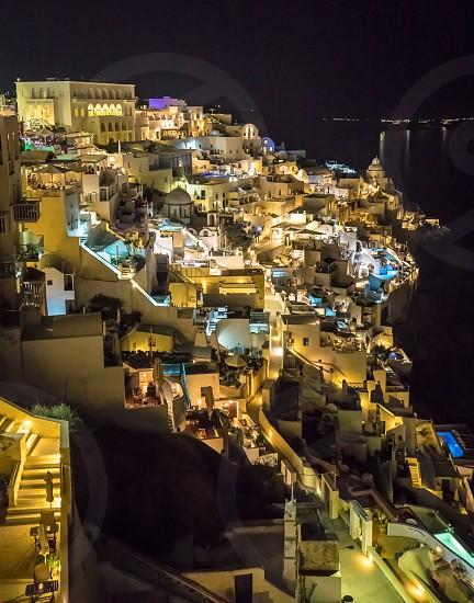 Famous Greek Island Santorini At Night photo