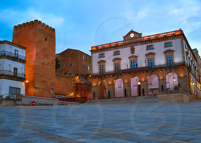 Caceres Plaza Mayor square at sunset in Extremadura of Spain photo