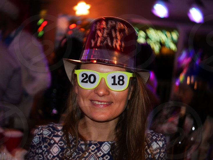 Happy New Year hat with 2018 party glasses raver  photo