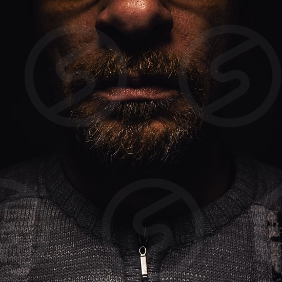 Details of a beard and mouth of a middle age man.  photo