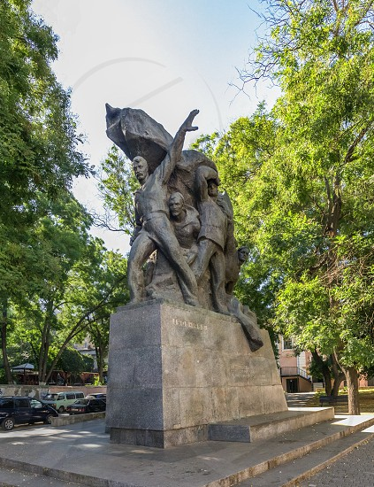 ODESSA UKRAINE - 08.23.2018. Monument to sailors of Battleship Potemkin who supported workers revolt of 1905 in Odessa photo