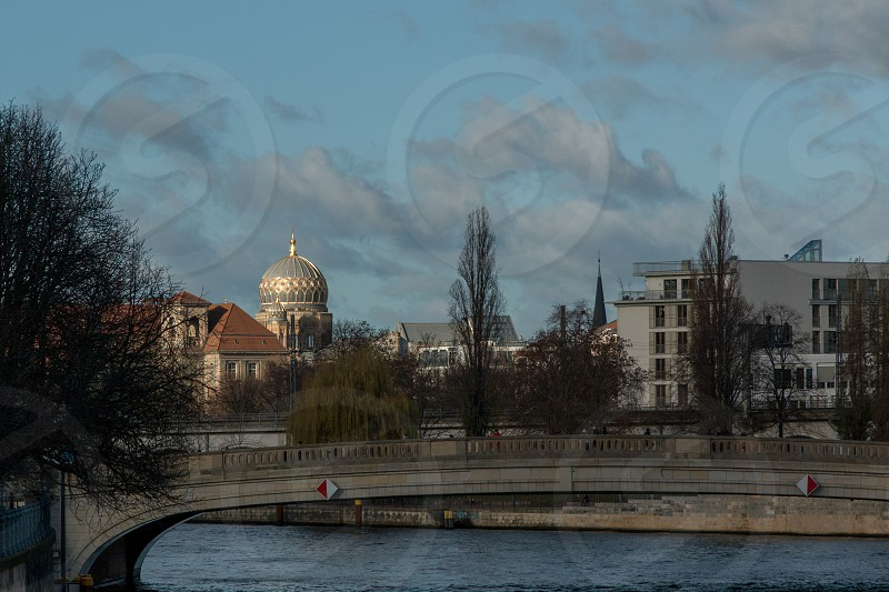 New Synagogue - Berlin seen over the river Spree that runs through Berlin. photo