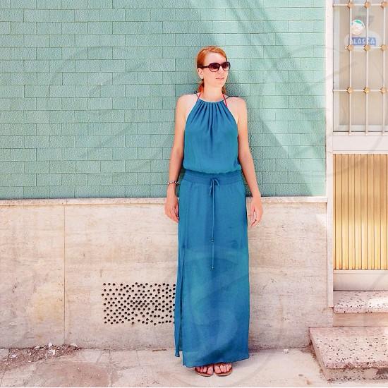 women's blue halter maxi dress photo