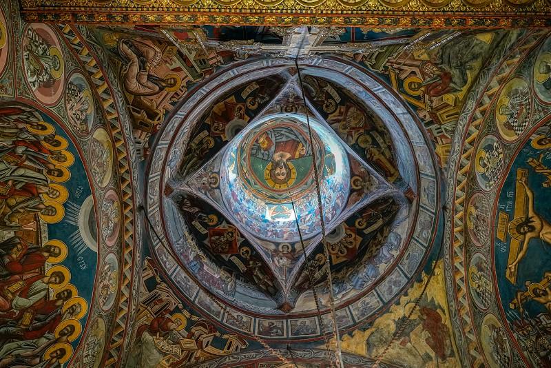 MOLDOVITA MOLDOVIA/ROMANIA - SEPTEMBER 18 : Interior view of the Monastery in Moldovita in Moldovia Romania on September 18 2018 photo