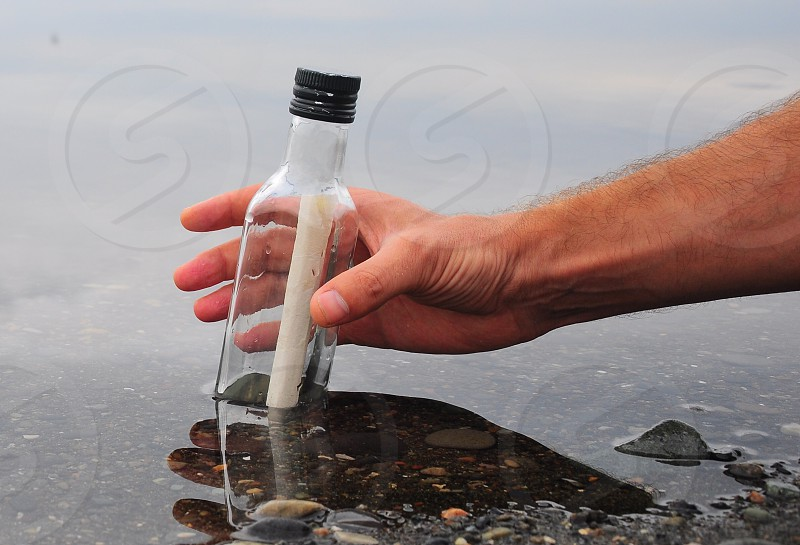 white letter in a bottle photo