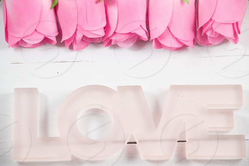 Pink roses with love clean letters  Valentine's DayValentine background. photo