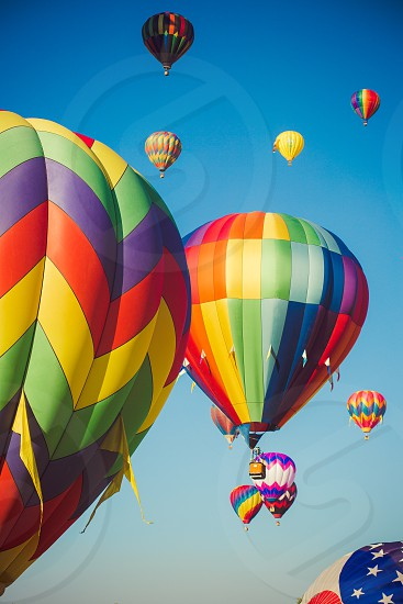 balloon hot air color colorful float rise lift off reno race beautiful sky blue fantasy fun photo