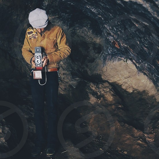Taking a photo in a cave.  photo