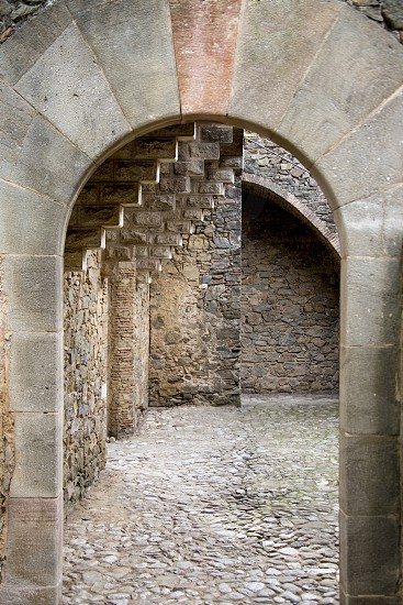 Stone arch of an ancient castle Bellesguard built by the great architect Gaudi. Barcelona photo