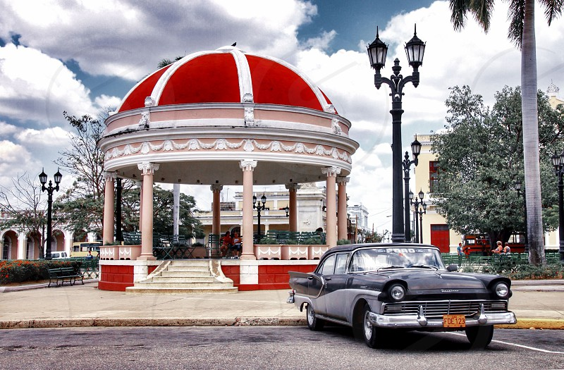 A bandstand with classic car in Cienfuegos Cuba photo