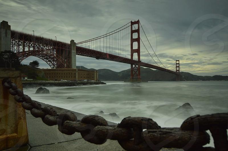 red suspension bridge photo