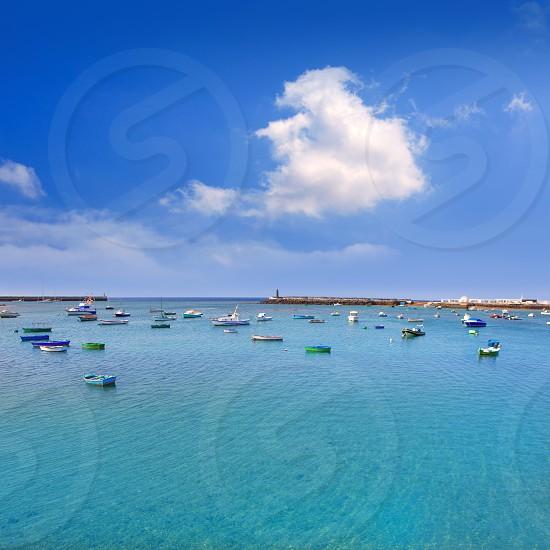 Arrecife Lanzarote boats harbor in Canary Islands photo