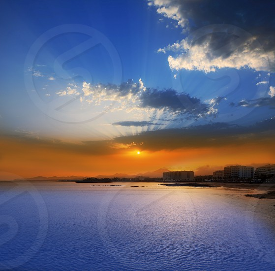 Arrecife Lanzarote sunset in Reducto Beach at Canary Islands photo