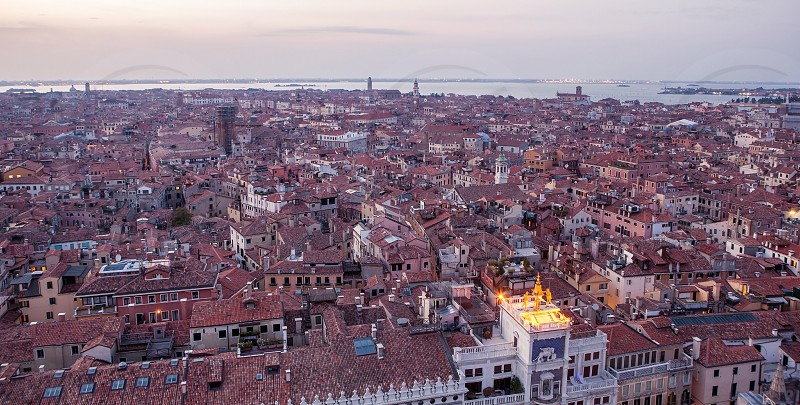 Aerial view of Venice city Italy. Top view of Venice in Italy from Campanile Bell tower. photo