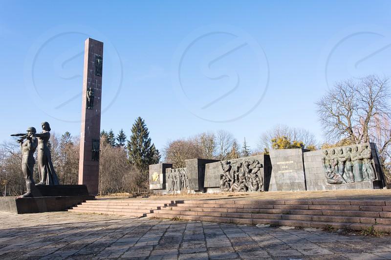 Monument Slavy Bohdan Khmelnytskyi central culture and recreation park Lviv Ukraine photo