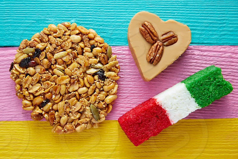 Mexican candy sweets Palanqueta cajeta heart and coconut flag photo