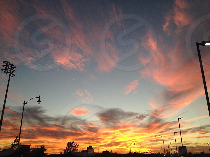 street lamps in sunrise view photo
