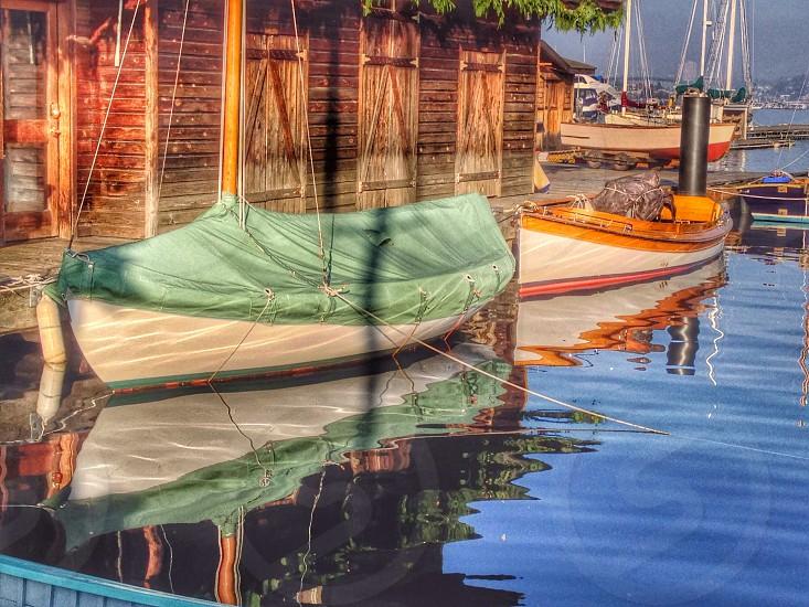 2 sailboats at port  photo
