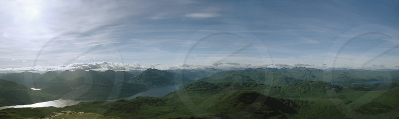 Ben Lomond Scotland Scottish landscape hill mountain munro climbing hike hiking skyline sun summer Loch clouds photo