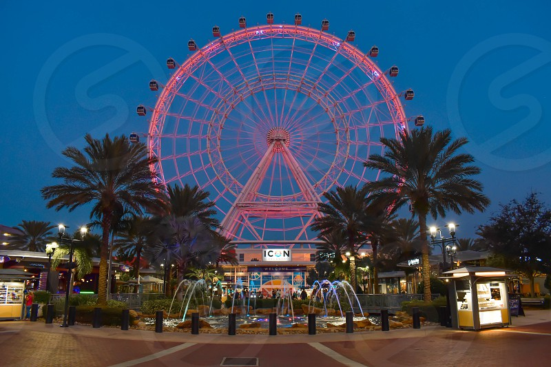 Orlando Florida. January 19  2019 . Illuminated and colorful big wheel in International Drive area  (1) photo
