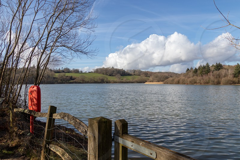 View of Ardingly Reservoir on a sunny winter's day photo