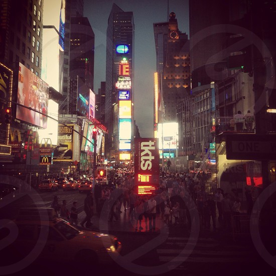 Times Square on a warm summer evening.  photo