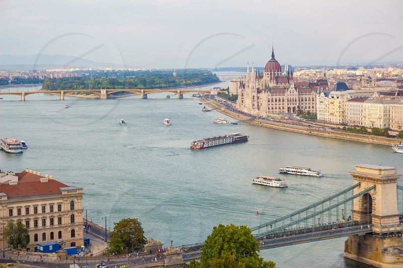 Budapest city view at the Hungarian Parliament and Margaret Island. Budapest Hungary. photo
