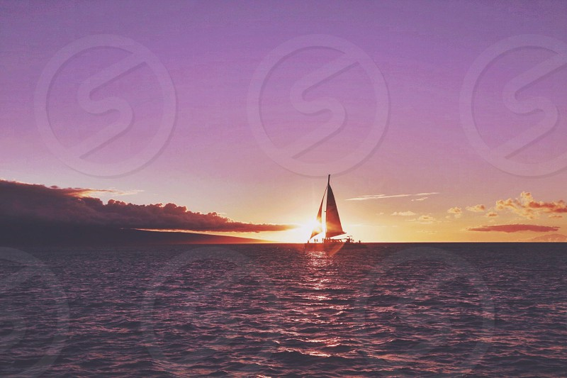 sailboat silhouette during sunset photo