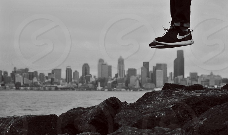 The new trending shoe hovering above Seattle.  photo
