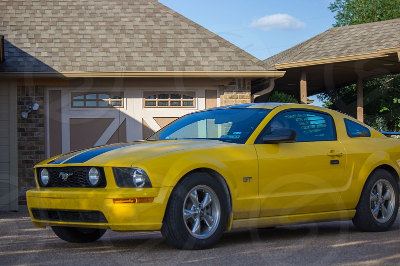 yellow mustang gt with black racing stripe photo